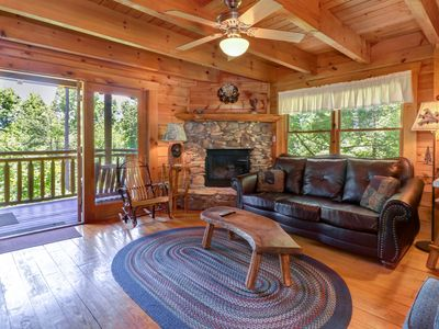 Photo for Gorgeous cabin w/ hot tub, forest views, & entertainment - dogs OK!