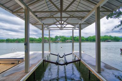 Boat Dock with 6,500 lb Lift and Dual Jet-Ramp, Swim Ladder