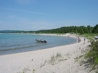 View from private beach toward Petoskey State Park