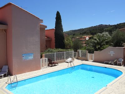 Photo for Collioure: beautiful apartment classified ***, quiet, swimming pool, garden, private parking