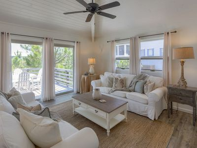 Cozy seating in the open living area, with access to the Gulfside sundeck