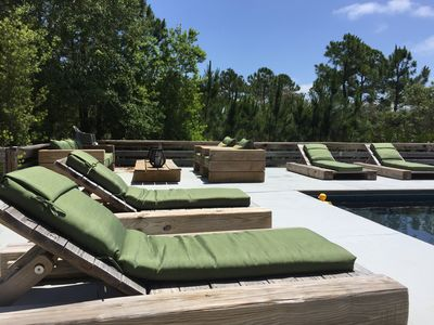 Pool Chaise lounges and seating area