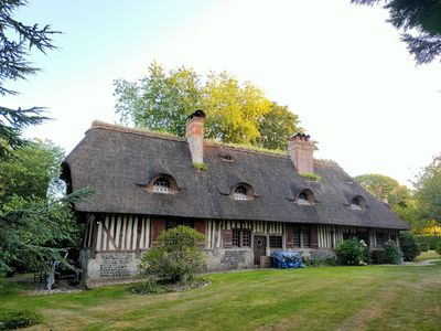 Photo for Les 3 Fresnes, beautiful thatched cottage in the heart of Normandy nature.