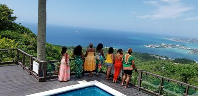 Recent repeat visitors on the pool deck overlooking Montego Bay.