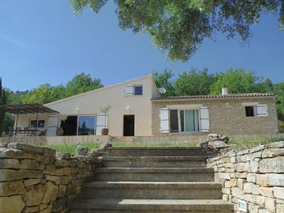 Photo for Nice house with a big swimming pool and superb open view, in middle of nature.
