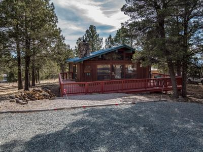 Photo for CUTE 2 / 1 BATH ONE LEVEL CABIN WITH HOT TUB BIG DECK , LEVEL ENTRY