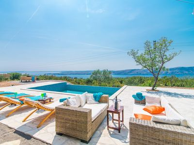Photo for Beautiful stone villa with private pool and a fascinating sea view