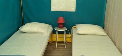 Photo for Camping Lac de Carouge *** - Bungalow canvas Bengali 3 rooms 4 people