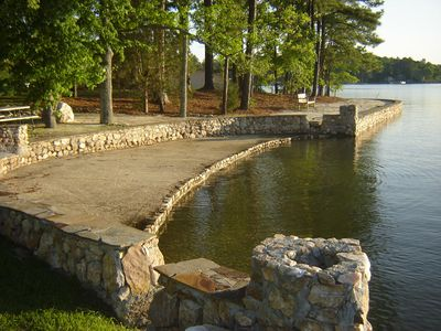 Concrete steps extend 20 feet into the water - perfect for swimming and wading.