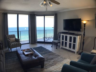 """Ocean Front Living Area with 55"""" cable television"""