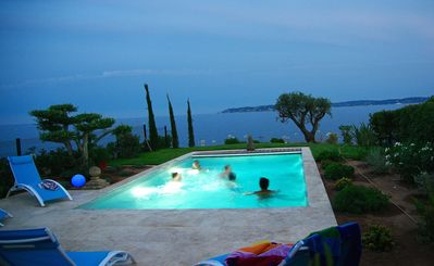 Photo for VILLA very CENTRAL.. with PANORAMIC SEA VIEWS ! Heated Pool, Parking.