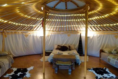 Yurt inside - toward double bed