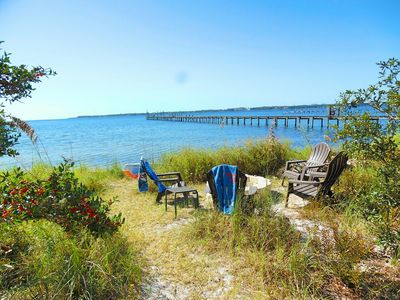 Relaxing beach with easy launching for the kayaks and a firepit for night.
