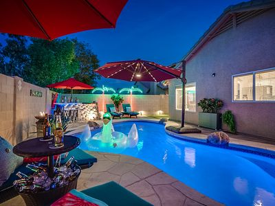 """Photo for """"WOW"""" Factor with a HEATED POOL, HOT TUB, Mountain Views & Billiards Table"""