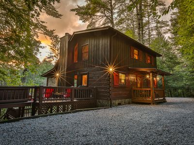 Photo for Ellijay River!  Private, hot tub, screened porch, pet friendly.