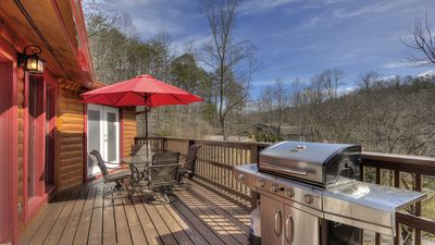 Photo for GREAT Location! Cabin with 2 master bedrooms & HUGE Hot tub
