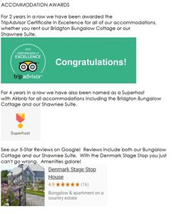 Awards and 5-Star Reviews across the board for the Denmark Stage Stop House!