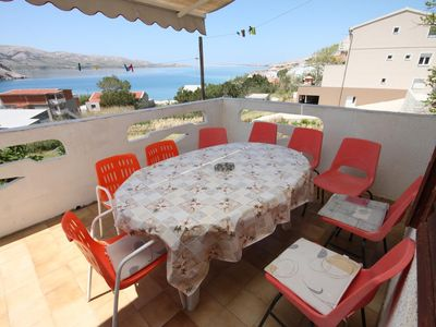 Photo for Three bedroom apartment with terrace and sea view Metajna, Pag (A-6370-a)