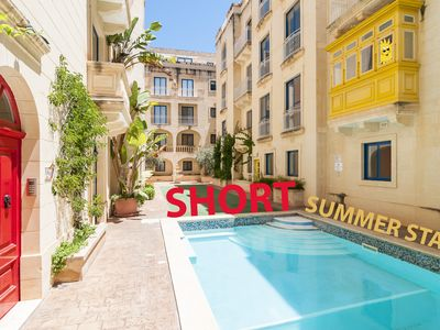 Photo for Modern 2 bedroom apartment with communal outdoor pool & terrace