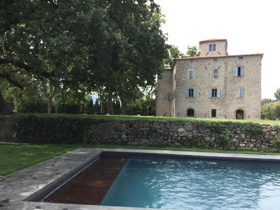 Photo for Castle twelfth renovated, luxury, charm, comfort, swimming pool, 15 mn sea, sleeps 25