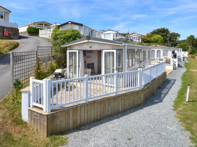 Photo for Perched on the hillside on the luxury Tal y Fan park at the entrance to Abersoch and with stunning s