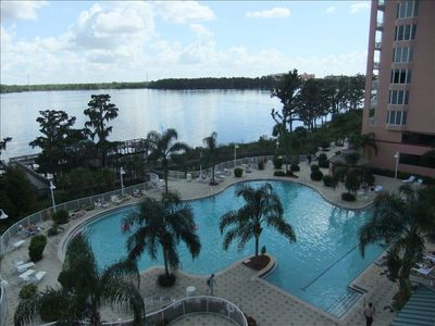 View of lake and pool from our 3rd floor condo!