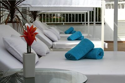 Luxury poolside beds