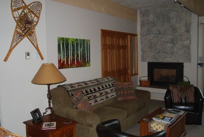 Gas, heat controlled fireplace in the living area to keep it cozy.