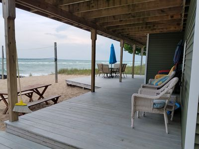 Photo for Beautiful Updated Sandy Lake Huron Beach House with A/C - waves & sunrise in bed