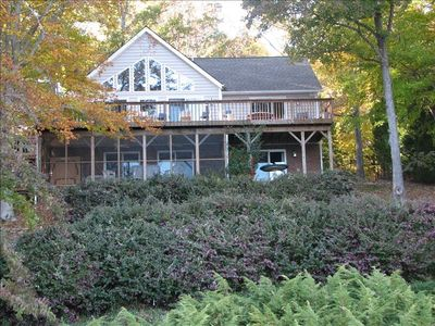 Full view of house with fall foliage