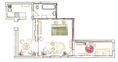 Weaver house floor plan on ground floor of garden