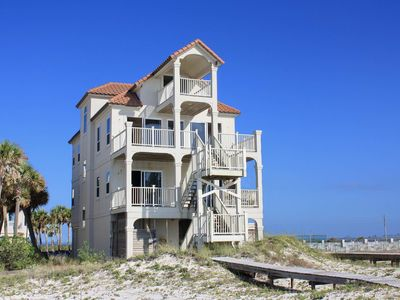 """Photo for Ready Now- No Storm Issues! FREE BEACH GEAR! Beachfront, East End, Screen Porch, Elevator, 6BR/4.5BA """"Dolphin Sunrise"""""""