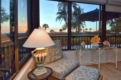 Lanai off off living/ family, dining room. Beautiful view of beach and courtyard