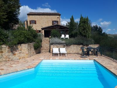 Photo for Lovely peaceful stone farmhouse with pool and beautiful views