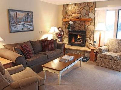 Stone Fireplace, Jacuzzi Tub, Kitchen - Trout Creek Condo #57 - 2 Bedrooms 2 Baths