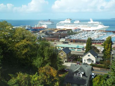 We have such a nice view of the marina, cruise ship in Port, and logging