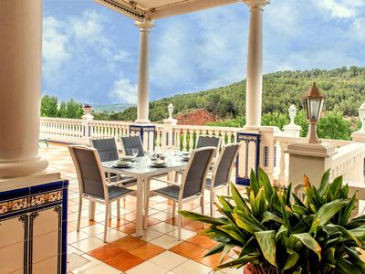 Photo for That impress patio overlooking mountains and the sound of water in the fountain