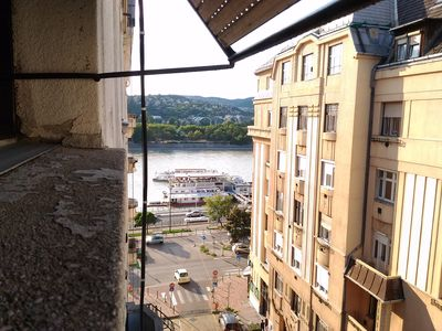 the window view to Danube river and Buda hills