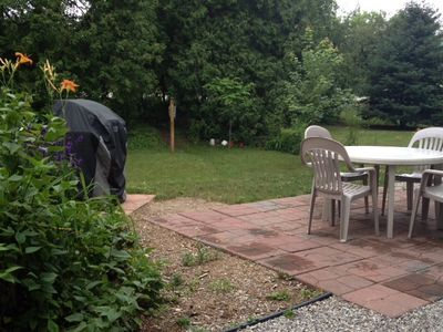 Backyard has patio, grill, and clothesline for your use.