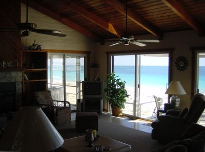 View from great room to East. Note beautiful cedar woodwork & furniture.