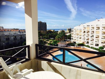 Photo for Central  studio apartment overlooking the pool