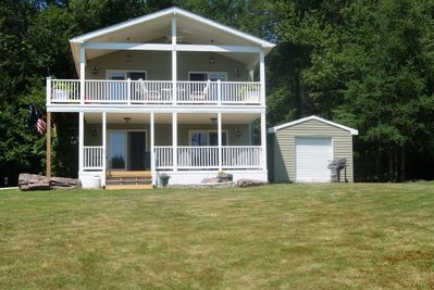 Relax on the first and second floor decks