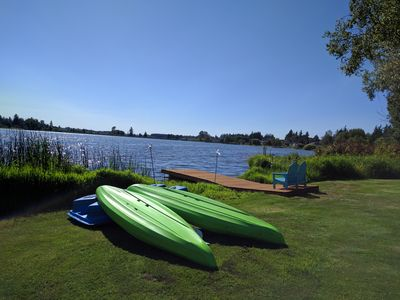 Photo for Private lakeside home, beautiful views, close to town! Kayaks and a pedal boat!