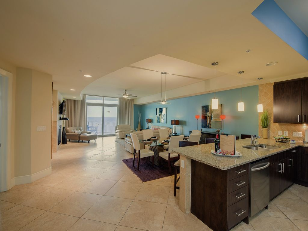 Spacious living and dining areas  Comfortable  contemporary furniture. Magnificent Turquoise Place Condo   VRBO