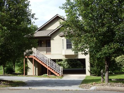Photo for IMMACULATE CREEKSIDE CABIN  Great Location CLOSE TO PARKWAY Free WIFI HOT TUB