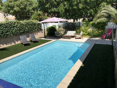 Photo for Luxury villa 5 minutes from the sea secured pool near bike path