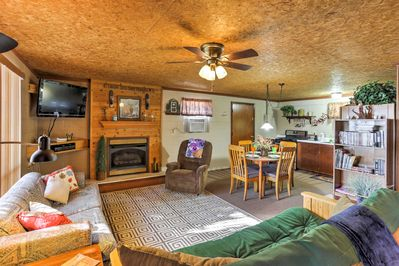 The cabin has a rustic interior, perfect for getting away from it all!