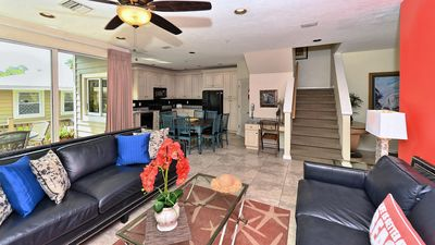 Fantastic open floor plan, beach view from the living room, kitchen and patio!!