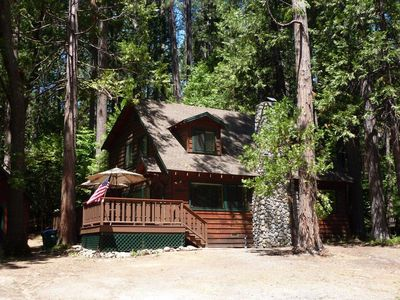 Photo for Gorgeous cabin- fireplace, near downtown & lake, deck, A/C &  firepit