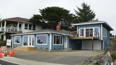 Expanded front of Pebble Beach View Vacation Rental--Main house on left.